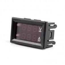 DC0-100V 10A LED Red Blue Dual Display Digital Voltage Ammeter For Home Use