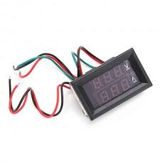 3pcs Mini Digital Blue + Red LED DC Current Meter Voltmeter With Ampere Shunt