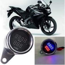 2 in 1 Universal Digital Display Waterproof LED Voltage Meter Tachometer for DC 12V Motorcycle