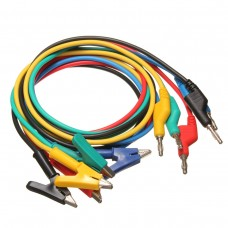 5Pcs 1M 4mm Silicone Banana Plug to Crocodile Alligator Clip Test Probe Lead Wire Cable