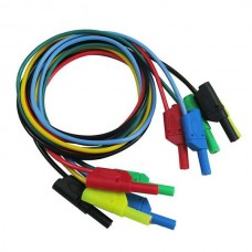 P1050 5Pcs 5 Colours 1M 4mm Banana to Banana Plug Soft Silicone Test Cable Lead for Multimeter