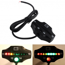 Motorcycle Car Universal Waterproof LED Battery Voltage Meter Indicator Pad 12V